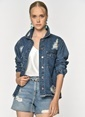 Loves You Yırtık Detaylı Jean Ceket Mavi